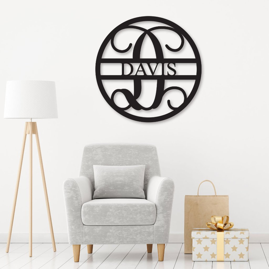 Wooden circle monogram sign with last name in living room
