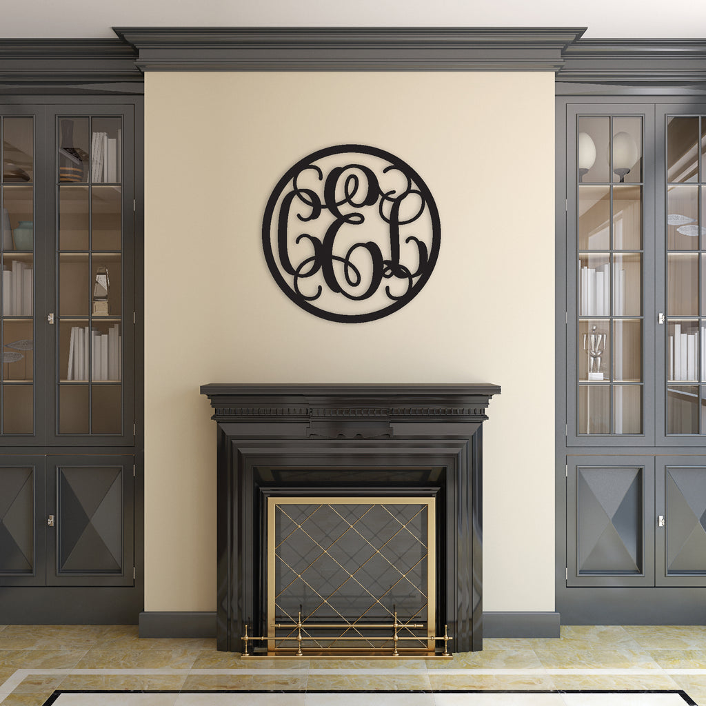 three letter circle monogram sign above mantle