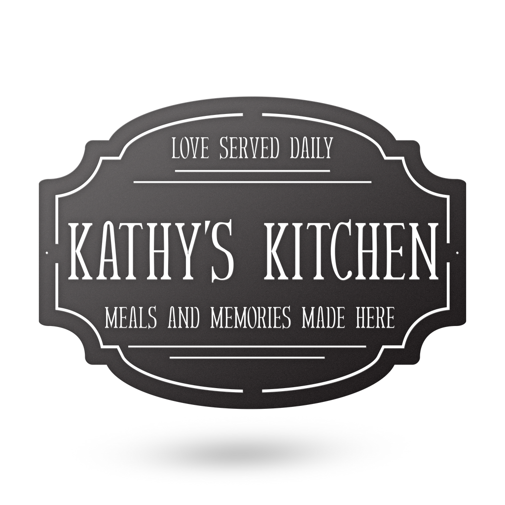 An image of the the custom kitchen farmhouse metal monogram from 48 Hour Monogram.