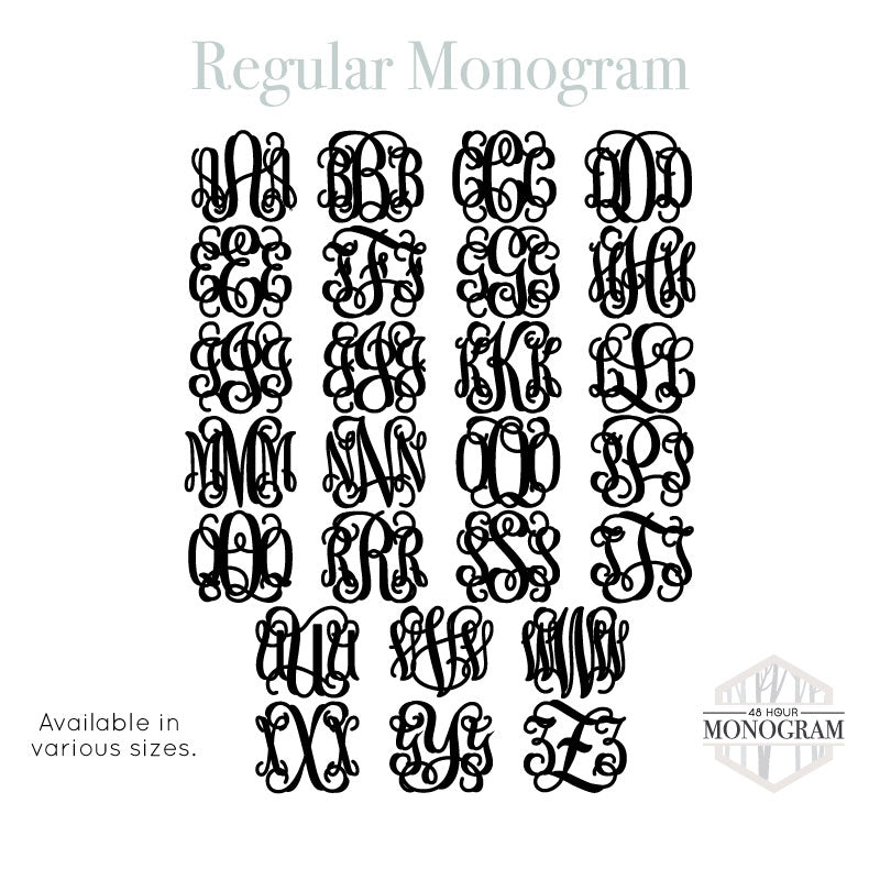 regular monogram font style in every letter