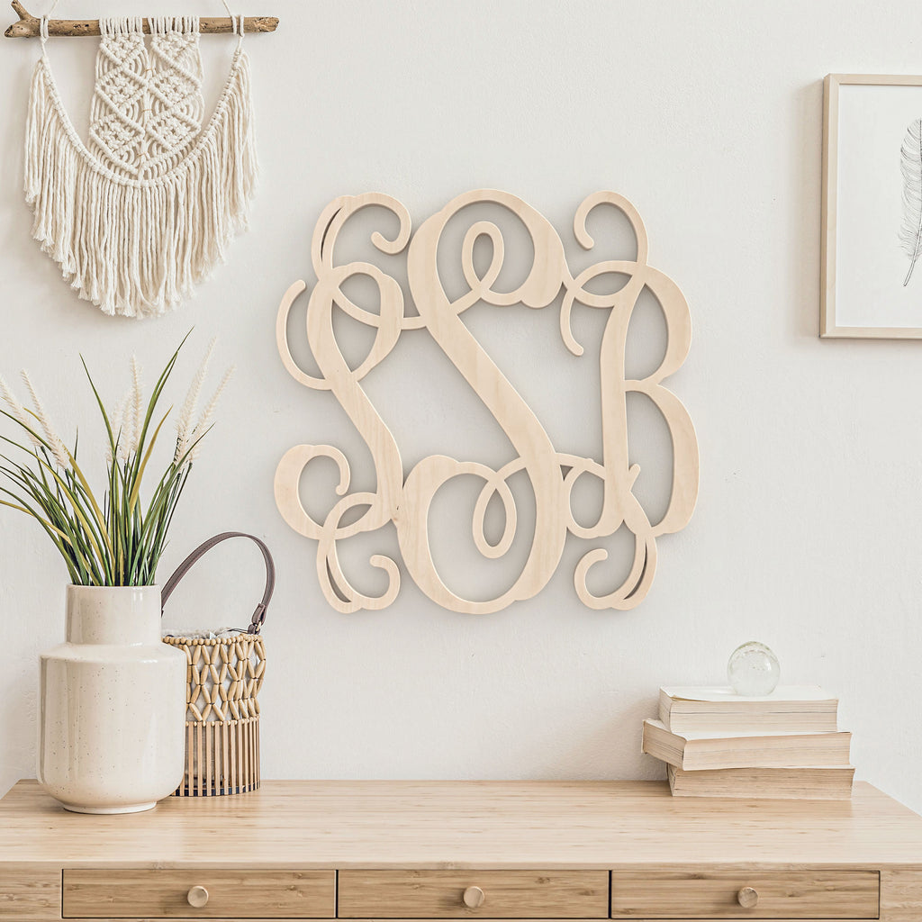 Regular 3-Letter Wood Monogram Sign
