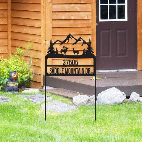 Metal Rustic Yard Address Sign