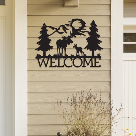 Metal Welcome Moose Sign