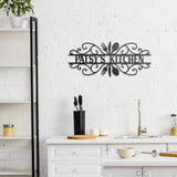 An image of the Kitchen Silverware metal monogram sign from 48 Hour Monogram hanging in a kitchen.
