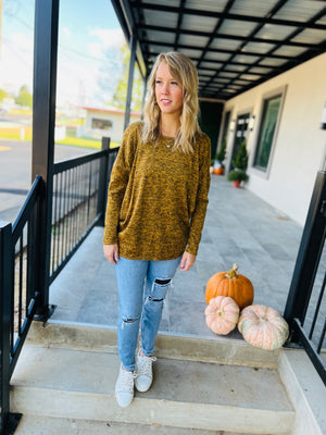 PomPom Bell Sleeve Top In Brick