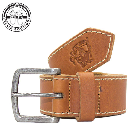 B-Jim Green Leather Belt - Tan