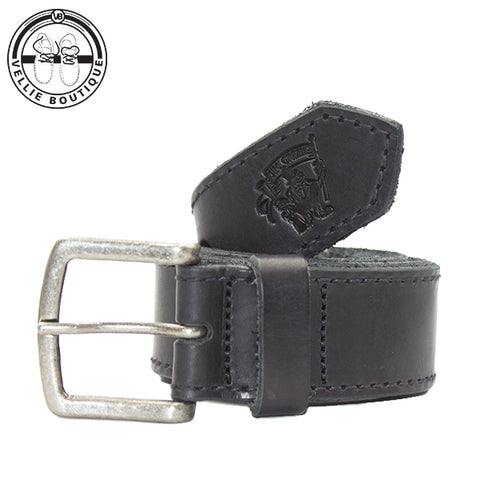 B-Jim Green Leather Belt - Black