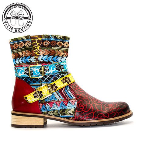Bohemian Retro Boot (Red) - Vellie Boutique