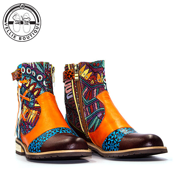 Bohemian Retro Boot (Orange) - Vellie Boutique