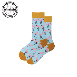 Flamingo Fun Socks (Light Blue & Mustard)