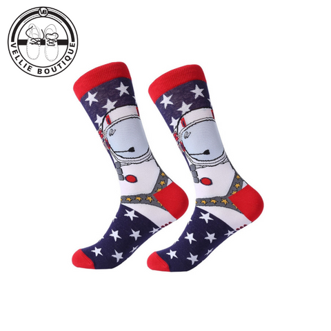 Astronaut Fun Socks (Red, White & Blue)