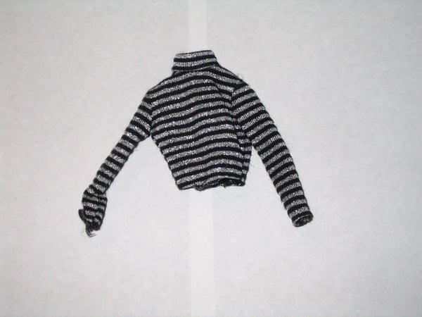 Silver and Black Striped Long Sleeved Turtleneck Shirt (Barbie Sized)