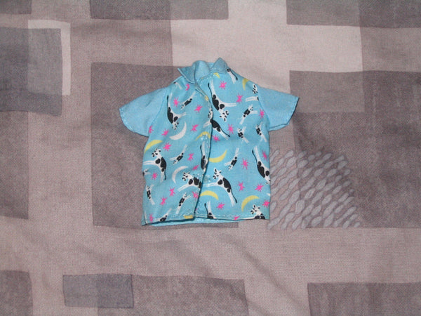 Genuine Barbie Fashion:  Blue Blouse with Cow Print