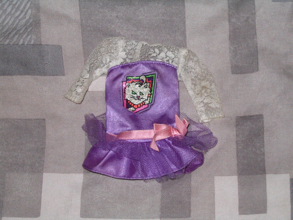 Genuine Barbie 80s Inspired Purple Dress with Cat Picture