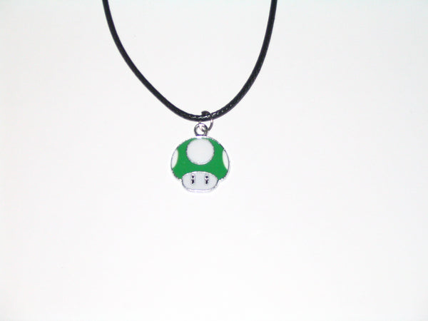 Super Mario Green 1-Up Mushroom Necklace with Black Cord