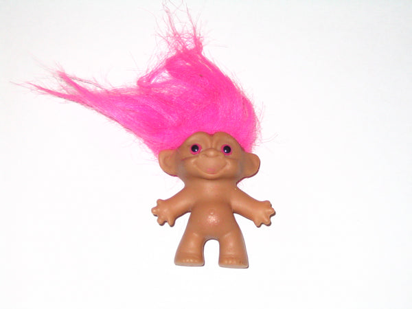 Vintage Russ Troll Doll with Pink Hair: 2.5 Inches Tall