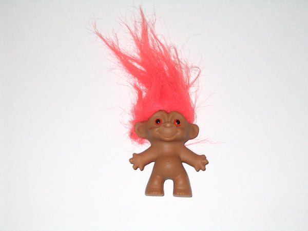 Vintage Russ Troll Doll with Orange Hair: 2.5 Inches Tall