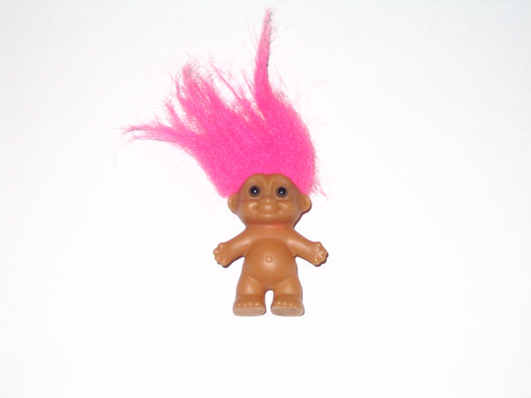 Vintage Russ Troll Doll with Pink Hair: 2 Inches Tall