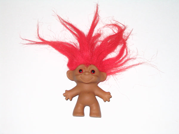 Vintage Russ Troll Doll with Red Hair: 2.5 Inches Tall