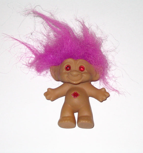 Vintage Russ Treasure Troll Doll with Pink/Purple/Fuschia Hair: 3 Inches Tall