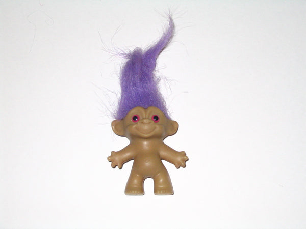 Vintage Russ Troll Doll with Purple Hair: 2.5 Inches Tall
