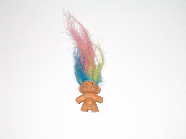 Vintage Russ Troll Doll Pencil Topper with Rainbow Hair: 1.5 Inches Tall