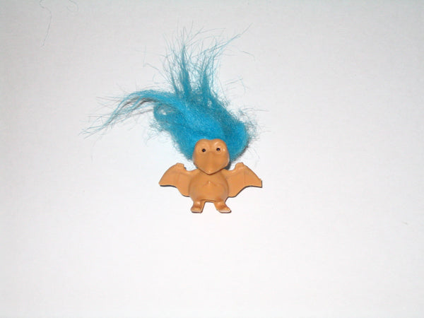 Vintage Russ Troll Doll Pterodactyl with Blue Hair: 1.5 Inches Tall