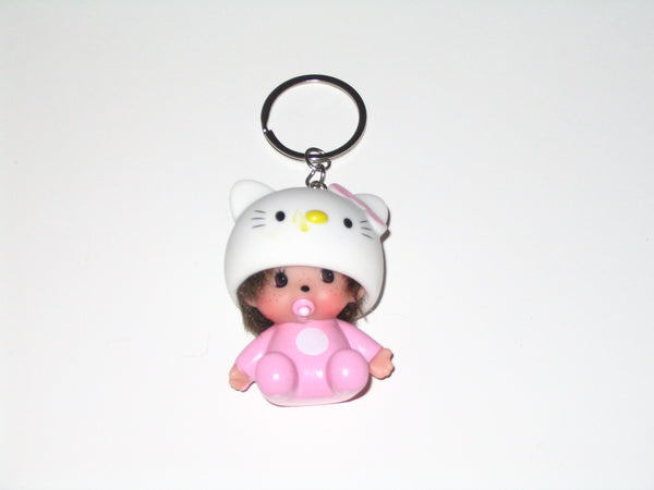 Monchhichi Keychain:  Girl with Hello Kitty Outfit