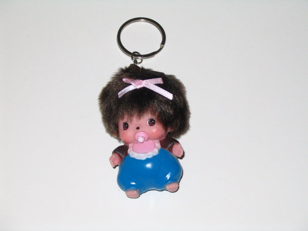 Monchhichi Keychain:  Girl with Blue Overalls