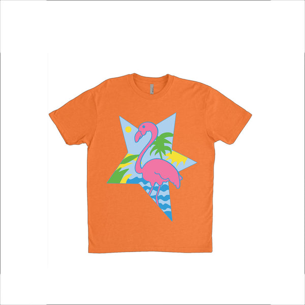 Jem and The Holograms Starlight Girls Krissie Cosplay /Costume: 1980s Flamingo & Palm Trees Orange Unisex T-Shirt - Multiple Sizes Available