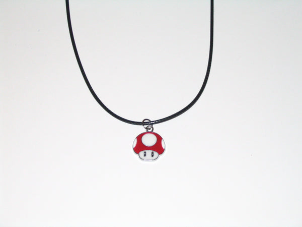 Super Mario Red Super Mushroom Necklace with Black Cord