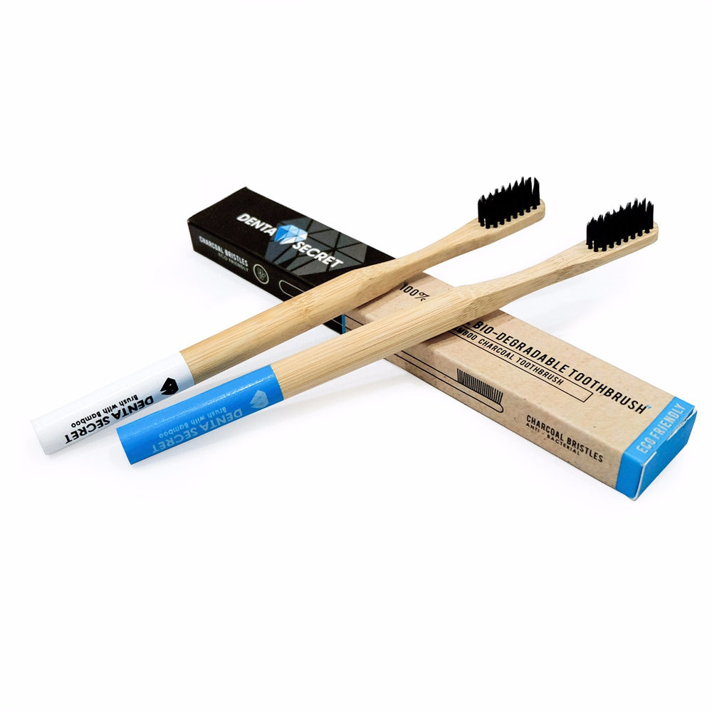 Charcoal Toothbrush with Bamboo Handle x4 (Multi-Colour)