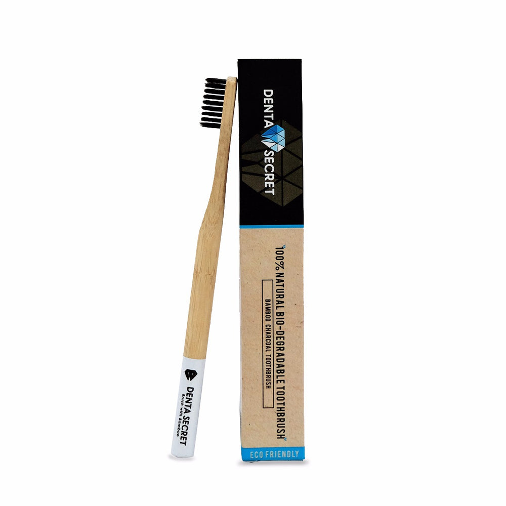 Charcoal Toothbrush with Bamboo Handle (White)