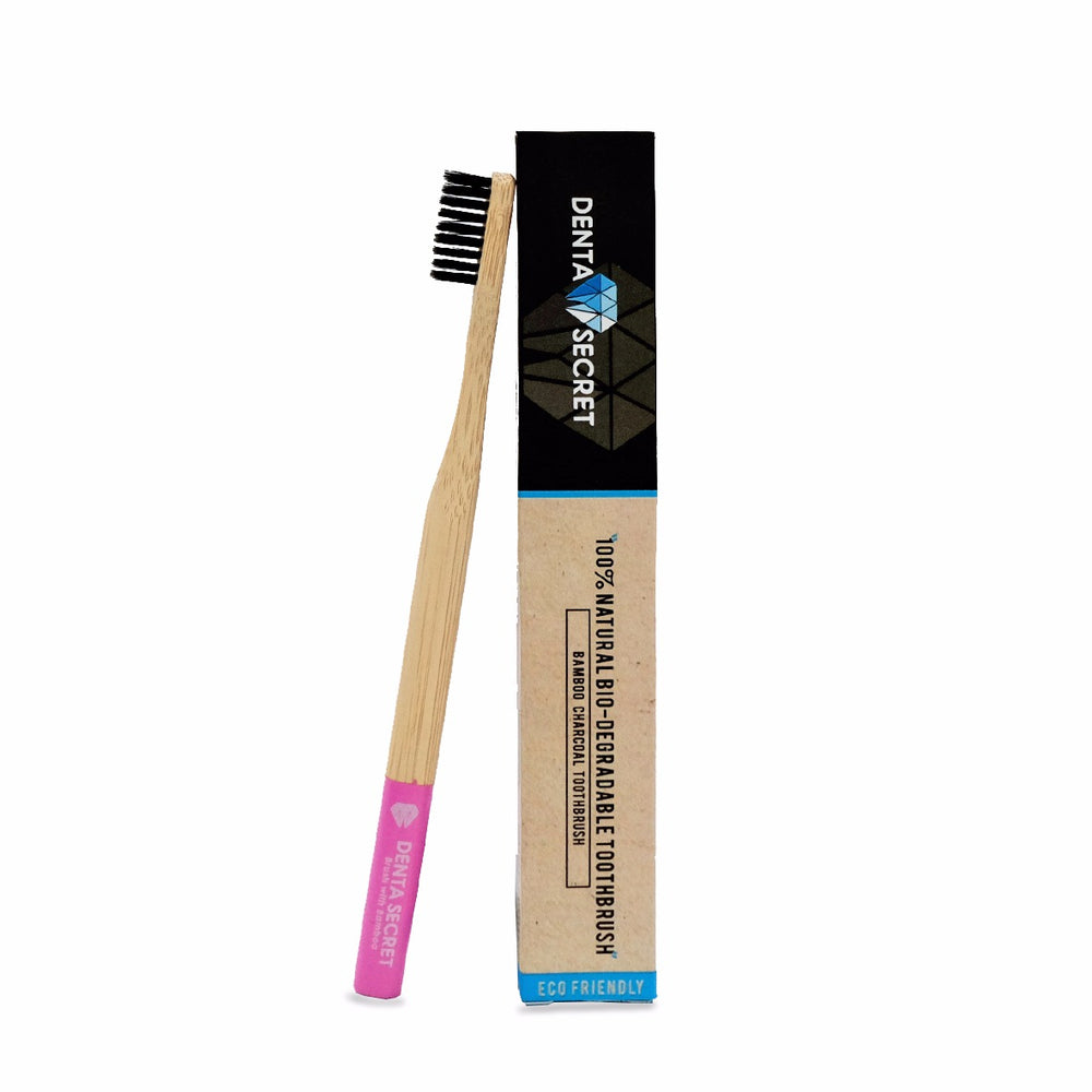 Charcoal Toothbrush with Bamboo Handle (Pink)