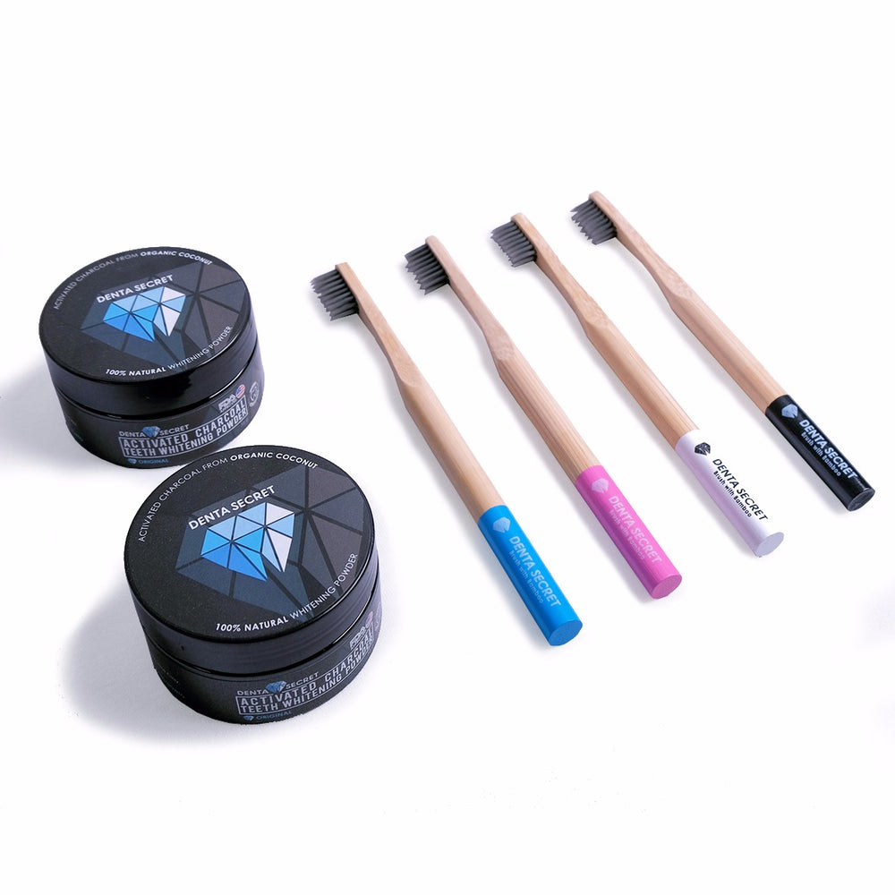 (Charcoal Teeth Whitening Powder x2) + (Charcoal Toothbrush with Bamboo Handle x4) - BEST VALUE!