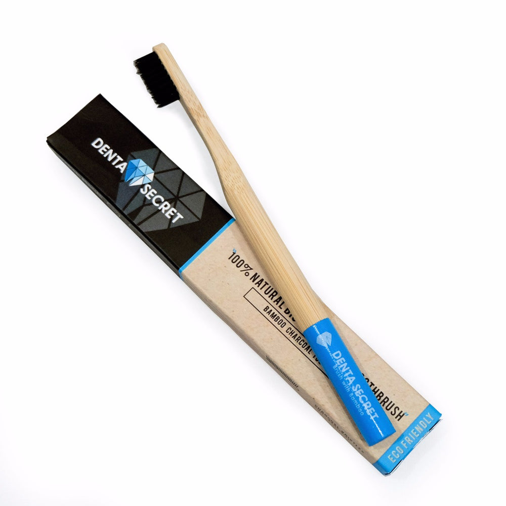 Charcoal Toothbrush with Bamboo Handle (Blue)