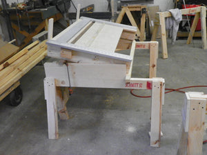 Home built jig to permit end drilling for box construction using dowels or confirmat screws.