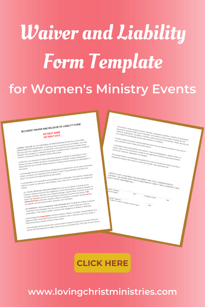Waiver and Liability Form for Christian Women's Retreats