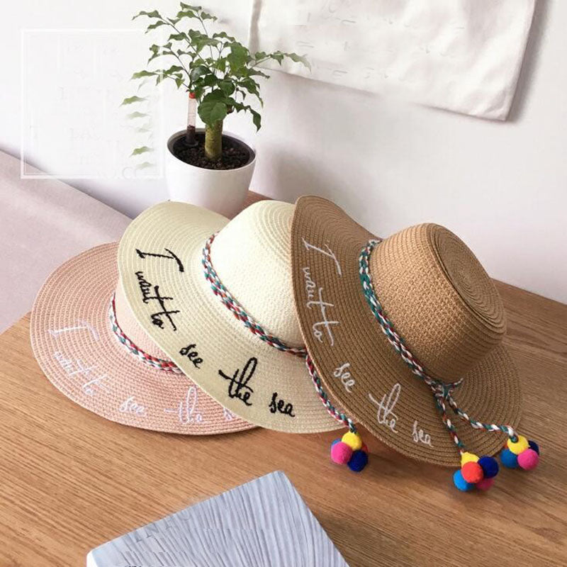 bdf90013c25cb4 ... Ymsaid Brand 2018 Letter Embroidery Cap Big Brim Ladies Summer Straw  Hat Youth Hats For Women ...