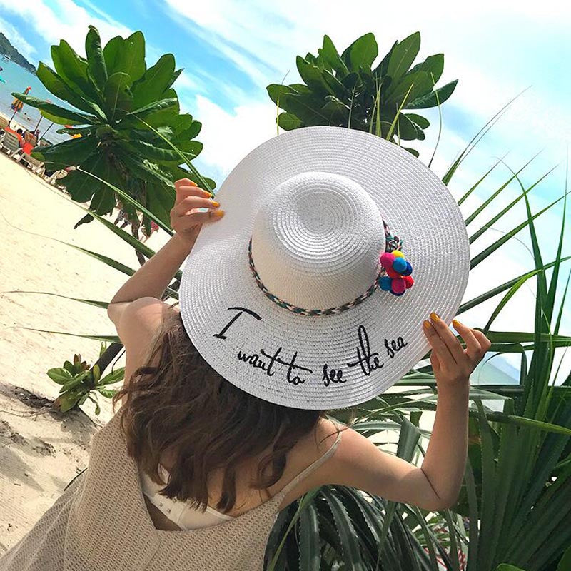 77b4cbd8cde ... Ymsaid Brand 2018 Letter Embroidery Cap Big Brim Ladies Summer Straw  Hat Youth Hats For Women ...