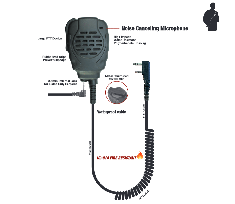 Waterproof Remote Speaker Mic Kenwood 2-pin Connector