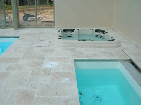 Travertino Chiaro Tumbled Pavers