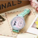 Cute French Kitty Watch - Austria Crystal Studded