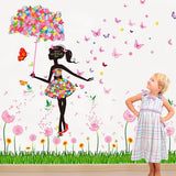 Fairy with Flower Umbrella and Butterflies - Large Wall Mural Decal
