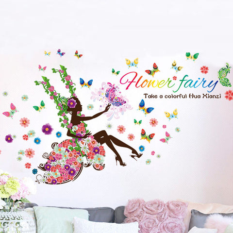 Fairy Swinging with Flowers and Butterflies - Large Wall Mural Decal