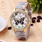 Crystal Studded Butterfly Watch