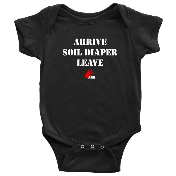 Arrive Soil Diaper Leave - ARN - Baby Onesie - Various Sizes