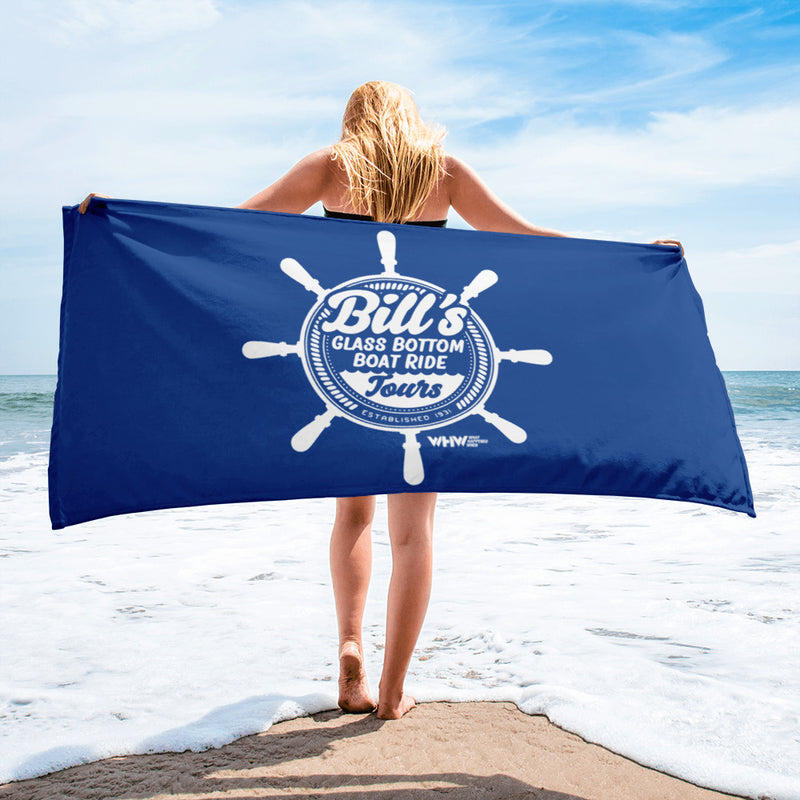 Bill's Glass Bottom Boat Ride Beach Towel