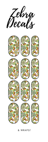 Accessories: Nail Waterslide Nail Wrap Decals - RETRO FLOWERS