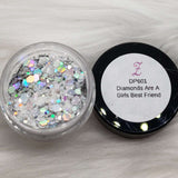 Diamonds Are A Girls Best Friend DP601 clear with IR chunky glitter /// - Zebra Glitter & Nails Company, LLC